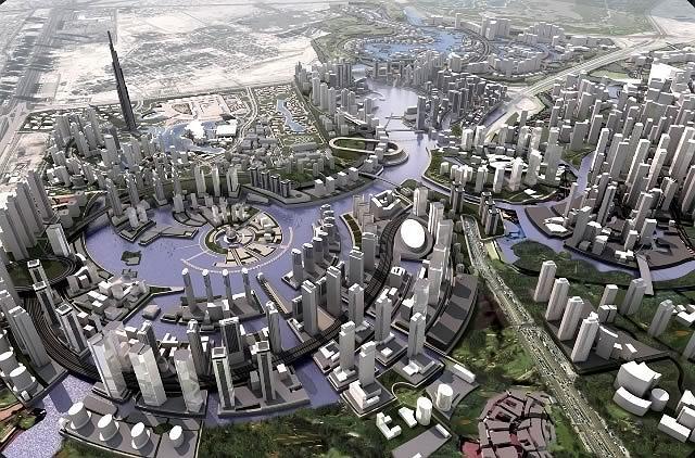 Бурж Халифа. Проект. Вид в контексте будущего района небоскребов © COM