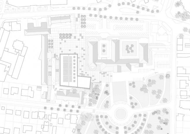 Спортивный зал и эспланада перед ратушей города Шель © LAN Architecture