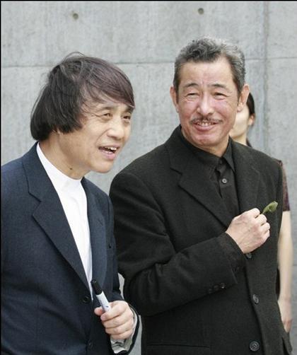 Тадао Андо и Иссей Мияке на церемонии открытия Центра