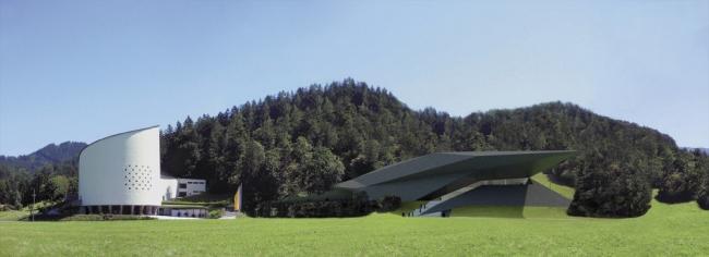 Фестивальный зал в Эрле. Слева - Пасьоншпильхаус © Delugan Meissl Associated Architects