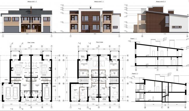 Коттеджный поселок «Рижский квартал». Фасады и разрезы © Архитектуриум