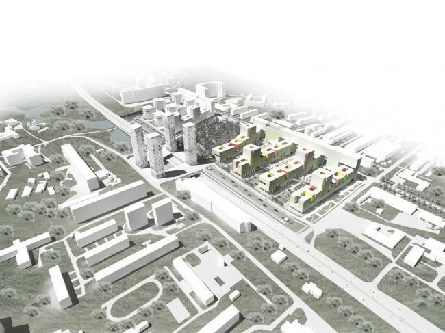 Жилой комплекс «Акварели». Две части комплеса, разделенные кладбищем, и башни делового центра над Горьковским шоссе. Проект © АБ «Остоженка»