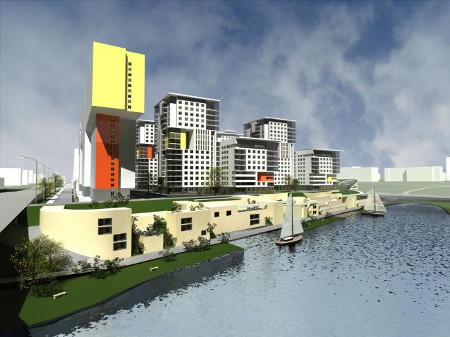 Жилой комплекс «Акварели». Вид на комплекс со стороны воды. Проект © АБ «Остоженка»