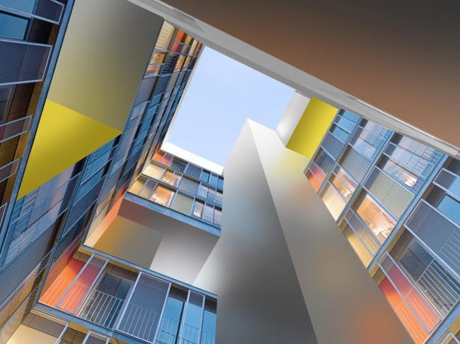 Жилой комплекс «Акварели». Двор-колодец в красках. Проект © АБ «Остоженка»
