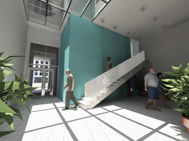 Жилой комплекс «Акварели». Вестибюль 17 этажа. Проект © АБ «Остоженка»