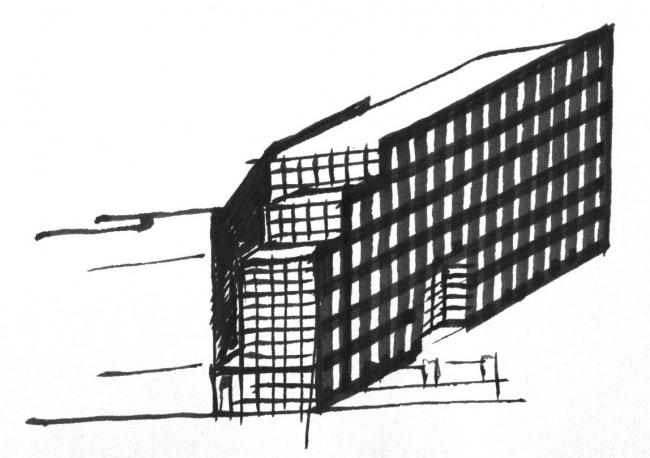 Офисное здание на Пречистенской набережной. Эскиз © АБ Остоженка