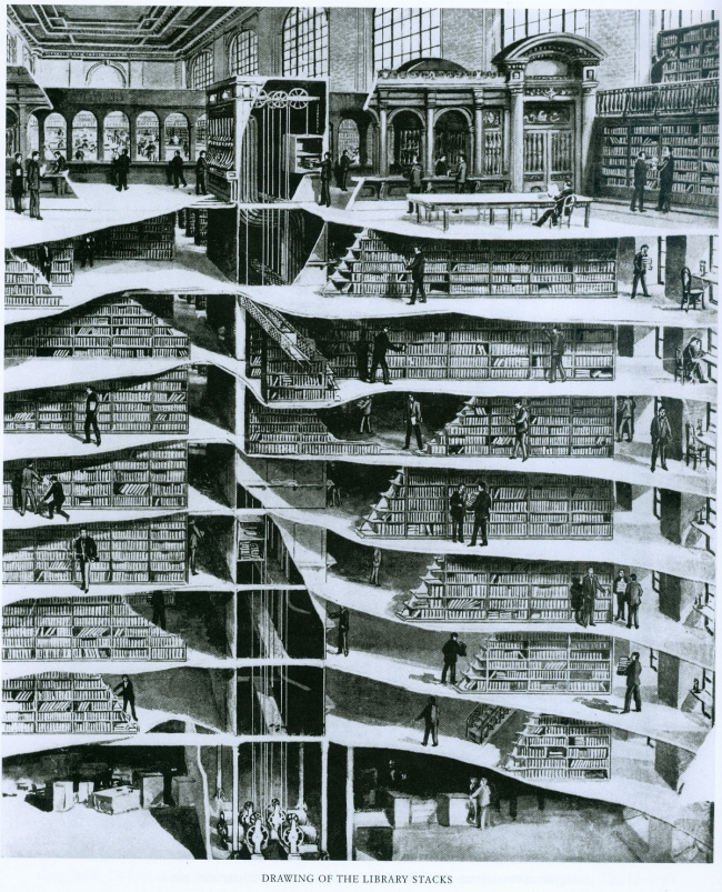 Разрез стеллажей Нью-йоркской публичной библиотеки. Обложка журнала Scientific American, 27 мая 1911