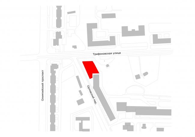 Офисное здание на Трифоновской улице. Ситуационный план © АБ «Остоженка»