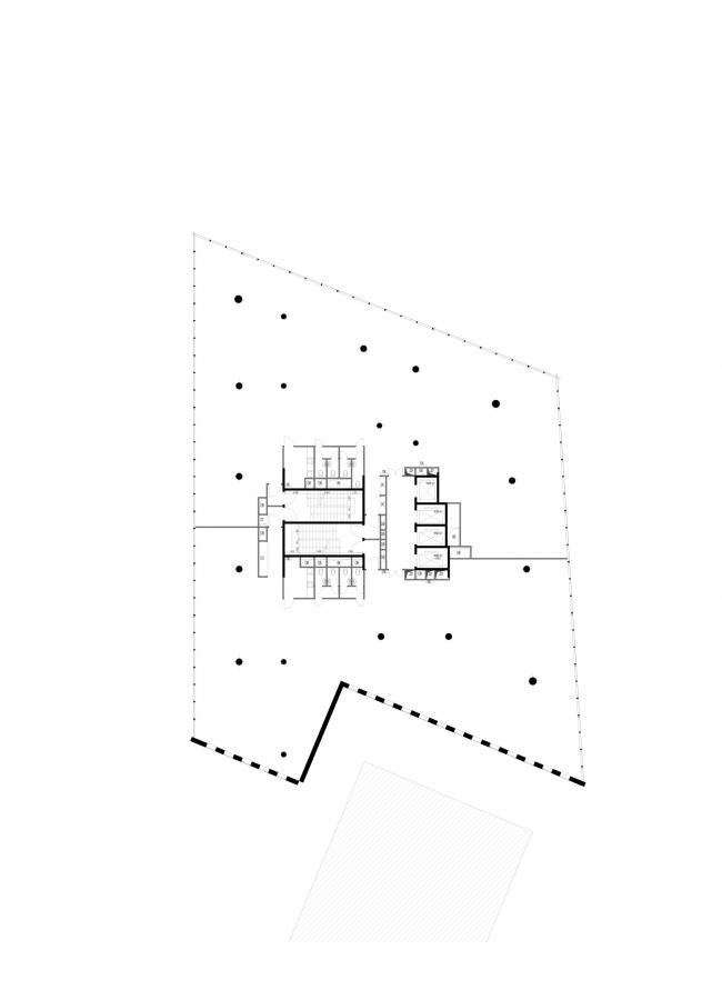 Офисное здание на Трифоновской улице. План типового этажа © АБ «Остоженка»