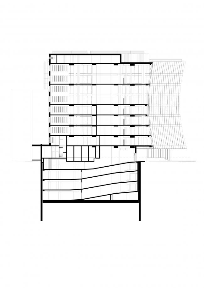 Офисное здание на Трифоновской улице. Разрез 1-1 © АБ «Остоженка»