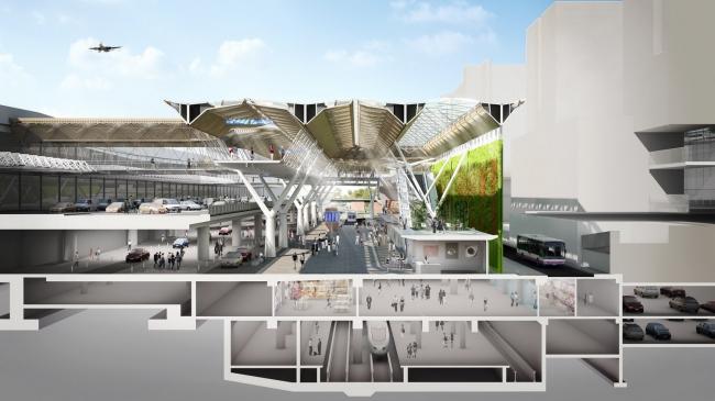 Двор терминала 1 аэропорта Франкфурта-на-Майне © Grimshaw