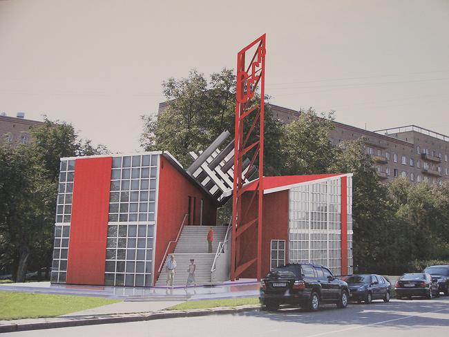 Павильон К. Мельникова для парижской выставки 1925 г. на месте заправки рядом с Нескучным садом. Визуализация
