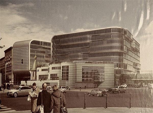 «Храм детства» на первом плане (слева часовня), на втором – офисно-деловой центр. Визуализация