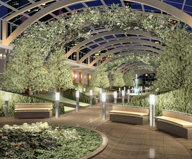 ЖК Diadema Club House, атриум с зимним садом (визуализация). Фото с сайта архитектурного бюро «Земцов, Кондиайн И Партнеры».