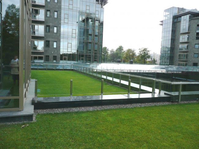 ЖК Diadema Club House: зеленая кровля, выполненная на террасе стилобата комплекса. Фото предоставлено компанией «ЦинКо РУС».