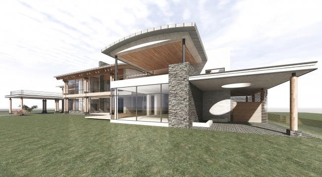 Проект загородного жилого дома в Подмосковье. Общий вид