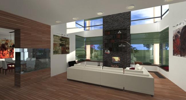 Двусветная гостиная с камином и аквариумом