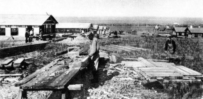 Бараки Магнитостроя (фотография датирована 30 августа 1929 г.).  Источник: Предоставлено В.А.Токаревым