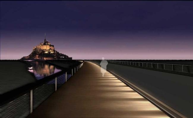 Дамба и пешеходный мост Мон-Сен-Мишель © Dietmar Feichtinger Architectes