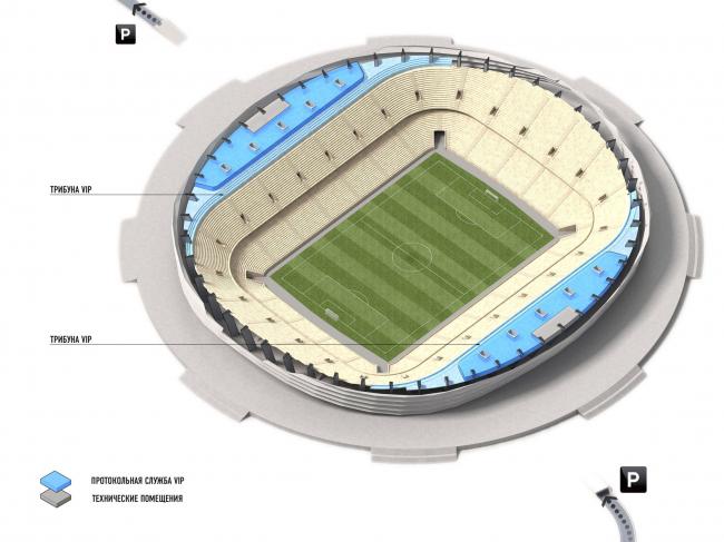 Стадион на 45000 мест для проведения Чемпионата мира по футболу 2018 года в Нижнем Новгороде © «Моспроект-2», мастерская №19 / М. Посохин, А. Асадов, К. Сапричян