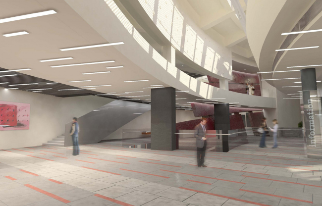 """The lobby with a fragment of the red wall. The museum building in """"New Jerusalem"""". Project, 2013 © City-Arch"""