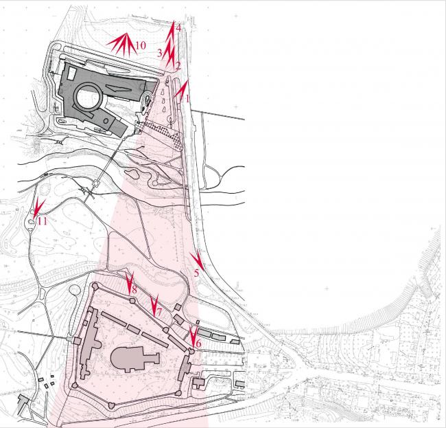 Расчет лучей зрения и видовых перспектив от монастыря на музей и от музея на монастырь. Здание музея в «Новом Иерусалиме» © АО «Сити-Арх»