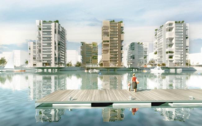 Жилые башни в Баакенхафен © Shigeru Ban Architects Europe