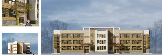 Дошкольное образовательное учреждение на 5 групп (120 мест) для затеснённых условий застройки VI-70 Варианты фасадных решений к утвержденному проекту.