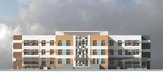 Дошкольное образовательное учреждение на 5 групп (120 мест) для затеснённых условий застройки VI-70 Варианты фасадных решений к утвержденному проекту