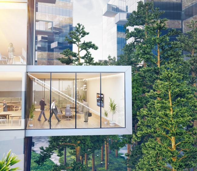 Бизнес-центр в Подмосковье. Переговорные комнаты внутри стеклянных консолей. Проект, 2012 © ADM