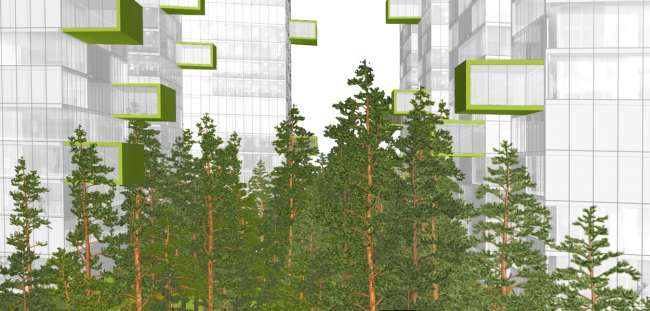 Бизнес-центр в Подмосковье. Консольные выносы. Зависание над лесом. Проект, 2012 © ADM