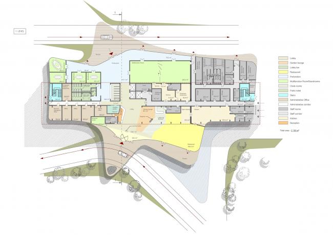 Гостиница Hilton Garden Inn. План 1-го этажа. Проект, 2012 © ADM