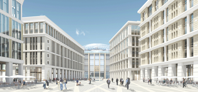 Административный и общественно-деловой комплекс «Невская ратуша». Вид на ратушу и бизнес-центры со стороны общественной площади