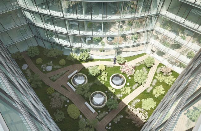Административный и общественно-деловой комплекс «Невская ратуша». Внутренний двор в здании Администрации. Проект, 2007 © Евгений Герасимов и партнеры