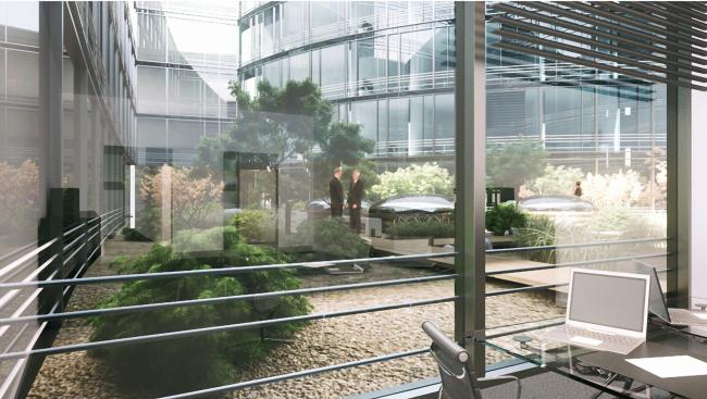 Административный и общественно-деловой комплекс «Невская ратуша». Внутренний двор. Проект, 2007 © Евгений Герасимов и партнеры