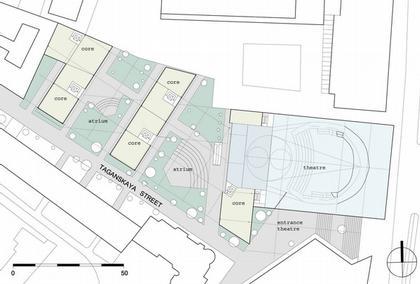 Театр на Таганке - Новая сцена. Проект. План уровня 00.  © Willen Associates Architecten