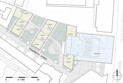 Театр на Таганке - Новая сцена. Проект. План уровня 01.  © Willen Associates Architecten