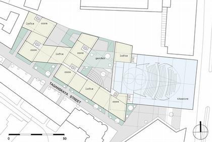 Театр на Таганке - Новая сцена. Проект. План уровня 04.  © Willen Associates Architecten