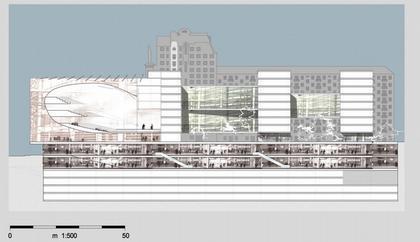 Театр на Таганке - Новая сцена. Проект. Разрез.  © Willen Associates Architecten