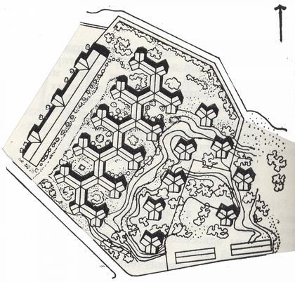 3 б. 2-этажный дом в Грендале. Стокгольм. Швеция. Арх. Бакстрэм, Рейсмус. 1944-1946 г.г. Схема застройки.