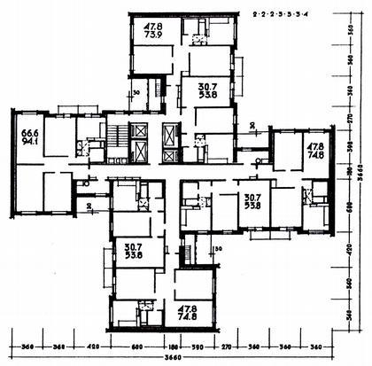 9 а. 22-этажный крупнопанельный  жилой дом П4/22. Москва, р-н Тропарево. Арх. А.Самсонов, А.Бергельсон. 1971г. План типового этажа.