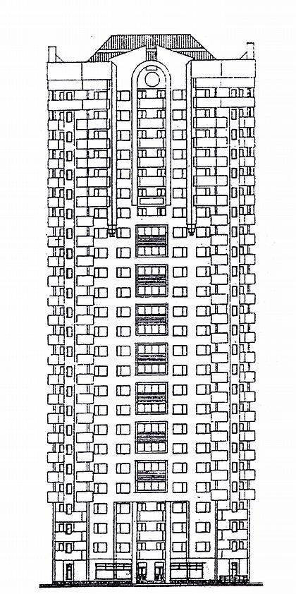 13 б. Проект 25-этажного жилого дома в сборно-монолитных конструкциях И-1820 (МНИИТЭП М-2). Фасад.