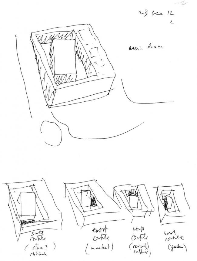 Культурный центр ANIMA. Структура: главный зал и 4 двора. Набросок Бернара Чуми © Bernard Tschumi Archiects