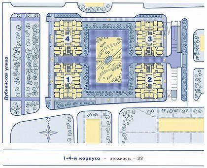 20 б. Жилой комплекс «Северный город». Москва, ул. Дубнинская. (архитектурное бюро «Капитал Групп»). Схема застройки.