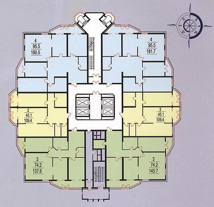 21 а. Жилой комплекс «Олимпия». Москва, ул. Исаковского, д. 39, вл. 27/2. (Концерн Крост). План типового этажа.
