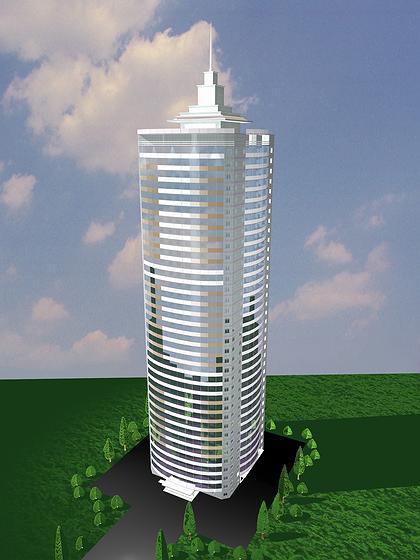 24 б. Архитектурно-технические решения нового типа энергосберегающего высотного 35 этажного жилого дома Арх. А.А.Магай, Н.В.Дубынин (ЦНИИЭП жилища). 2004 г. Перспектива.