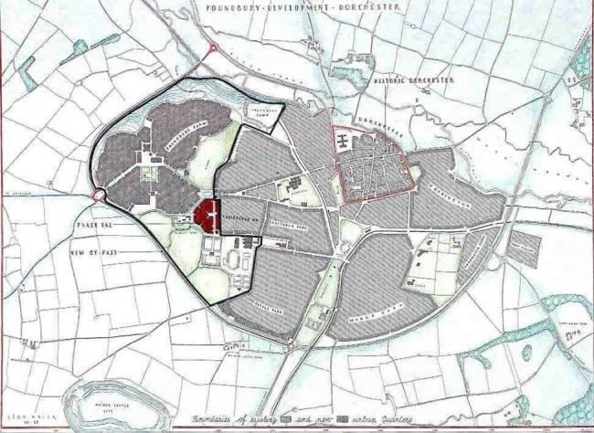 Генплан Дорчестера. В западной части города – территория Паундбери. Источник: http://www.colummulhern.lu