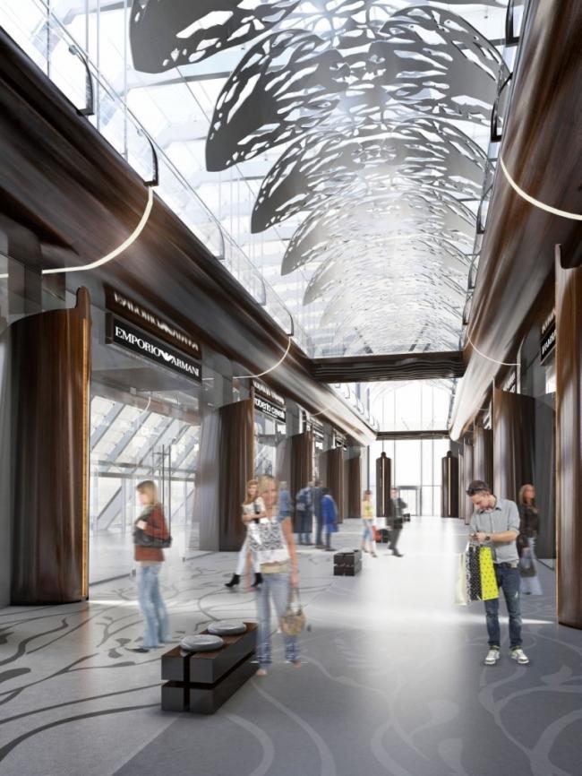 Проект интерьера общественных зон для башни «Евразия» в «Москва-Сити»
