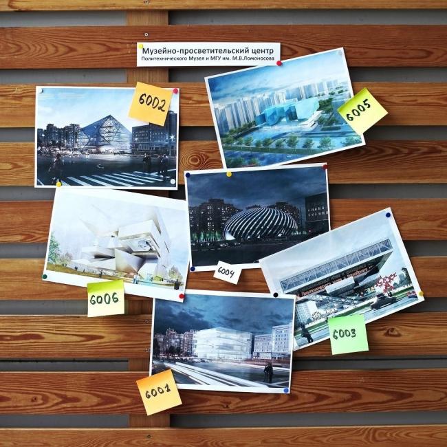 Шесть проектов второго тура конкурса на стенде в институте Стрелка. Фотография представлена организаторами.