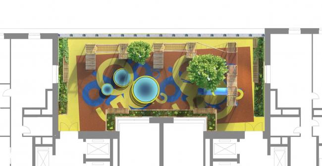Жилой дом на Староалексеевской. Концепция благоустройства территории. Проект, 2013 © ADM